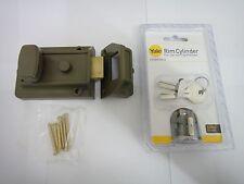 TRADITIONAL 60mm BROWN NIGHTLATCH NIGHT LATCH & YALE CHROME CYLINDER - NEW