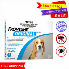FRONTLINE ORIGINAL For Dogs 10 to 20 Kg 4 Pipettes Flea Tick treatment BLUE Pack