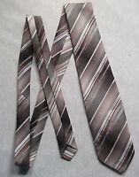 Vintage TOOTAL Tie Mens Necktie Retro 1980s Fashion BROWN BEIGE STRIPED