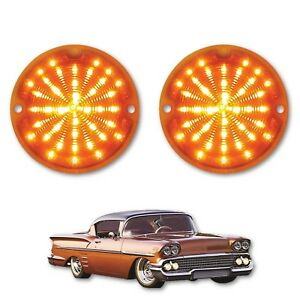 58 1958 Chevy Impala Bel Air Biscayne LED Front Amber Park Light Lamp Lens Pair
