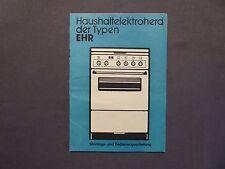 Bedienungsanleitung Haushaltelektroherd Typ EHR Gas- u. Elektrowerke Dessau 1989