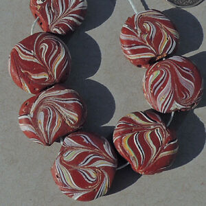 7 old antique venetian tabular african trade beads #1913