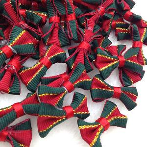 40pcs Grosgrain Ribbon Bows Christmas Decor Red W/ Green Edge Appliques A293