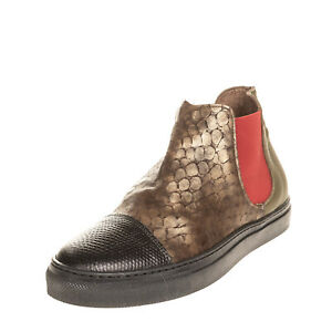 Leather Chelsea Sneakers EU 38 UK 5 US 8 Metallic Reptile Pattern Made in Italy