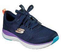 Navy Skechers Shoes Women Sport Comfort Memory Foam Cushion Slip On Train 149021