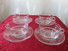 4 Suppentassen mit Teller,Glas,Duralex , Made in France,gebraucht