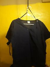 Wonderwink Womens Plus Size 2X Blue V Neck Scrub Uniform Top