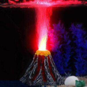 Aquarium Volcano Ornament Air Pump With Led Lamp Bubbler Fish Tank Decorations