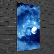 Wandbild Kunst-Druck auf Hart-Glas senkrecht 50x100 Vollmond