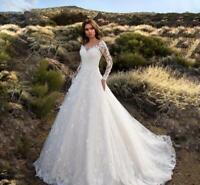 V neck Wedding Dress Long sleeve One Shoulder Applique Bridal Wedding Gown