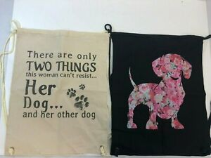 2x Cotton Canvas Drawstring Tote Bags - Her Dog & Rose Floral Dachshund