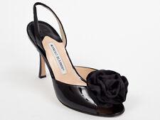 New  Manolo Blahnik Black Patent Leather Sandals Size 39 US 9