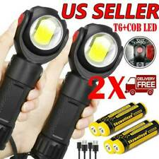 2Sets Rechargeable T6+COB LED Flashlight 360° Rotating Torch Work light w/Magnet