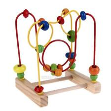 Kids Wooden Toys Baby Math Toys Colorful Mini Around Beads Wire Maze Educational