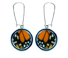 Real Handmade Monarch Butterfly Wing Pendant Earrings - Stainless Steel