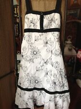 BEAUTIFUL DRESS, SIZE 14L, BY PER UNA, FLORAL, FULLY LINED, COTTON, WHITE/BLACK