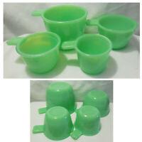 Set of 4 Jadeite Jadite Green Glass Measuring Nesting Cups 1/4c 1/3c 1/2c 1c