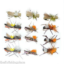 Dropper Hopper Foam Body Grasshopper Trout Flies Assortment 12 Flies 4 Patterns