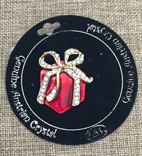 Kurt Adler Christmas Present Genuine Austrian Crystal Brooch Pin on Orig. Card