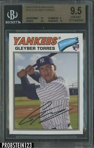 2018 Topps Archives Gleyber Torres New York Yankees RC Rookie BGS 9.5 w/ 10