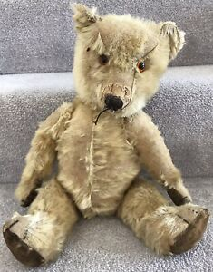 """Antique Chiltern Mohair Jointed Teddy Bear 17"""" British C.1930/40s Needs TLC"""