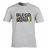 Mens Irish Rugby Supporters T Shirt Blood Sweat Beers Ireland 6 Nations Tshirt