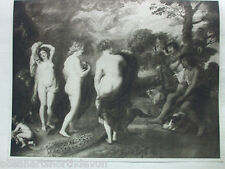 ANTIQUE PRINT 1901 THE JUDGEMENT OF PARIS BY SIR PETER PAUL RUBENS VINTAGE ART