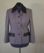 Women's Apart Brown & White Checked Lined Wool Blend Blazer Jacket 10