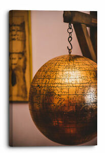 Closeup Of Hanging Copper Globe With Etched Countries Canvas Wall Art Pictu...
