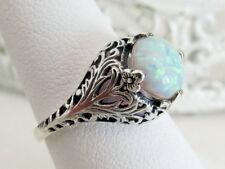 Opal Filigree Sterling Silver Ring Vintage Antique Art Deco Sz 9