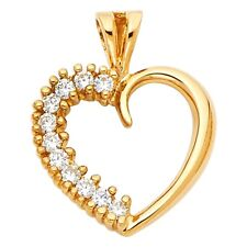Cz Pave Curve Fancy 16 x 15 mm Solid 14k Yellow Gold Heart Pendant Love Charm