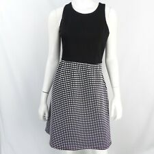 Anthropologie Tabitha Black White Check Sleeveless Fit and Flare Dress 6 S M