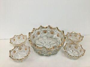Vintage 5-piece cut glass crown shaped bowl set