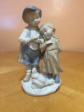 Duncan Royale Brother & Sister With Chickens Fine Porcelain Figurine 9.5� Tall