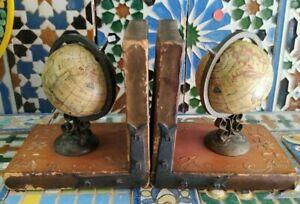 Anni '20 Reggilibro 2 Globi con Mappamondo, Sfera Terrestre Cardinale Richelieu
