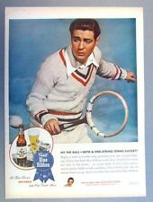 Original 10 x 14 1945 Pabst Beer Tennis Ad HIT THE BALL..WITH A 1-STRING RACKET