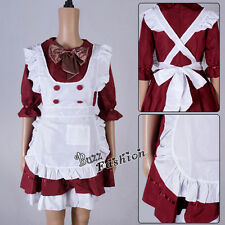 Lolita Wine Red Women Maid Bowknot Japanese Anime Cosplay Costume Dress Headband