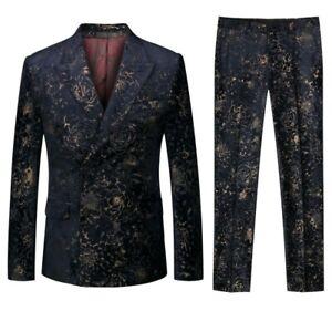 Mens Double Breasted Printed Floral Formal Wedding Blazer Coat Pants Vest Suits