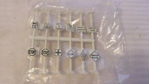HO Scale Life-Like 24 Road Signs  and Railroad Signs Plastic Kit, White, BNOS