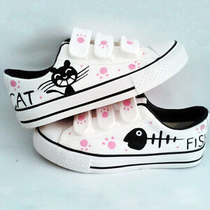 New Womens Fashion Colorful Hand-painted Canvas Shoes- Cat & Fish Cute Kittens