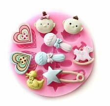 1 x Baby Shower Theme Silicone Mould 9 Cavity Fondant Chocolate Sugar Craft Mold