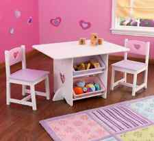 Kids Activity Table And Chairs With Storage Little Girls Play Set Hearts  Wood