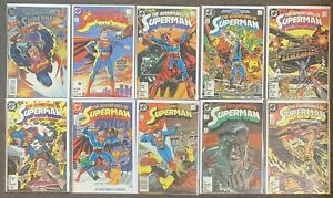 10 The Adventures Of Superman #0,424,425,426,427,428,429,430,431,432 1987 DC Lot