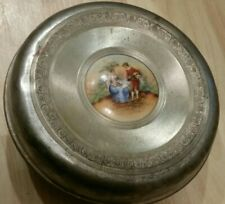 "Vintage metal Powder Puff Holder 5"" in diameter"