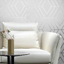 Diamond Triangle Geometric Wallpaper White Gray Silver Metallic Textured Roll 3D
