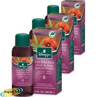 3x Kneipp Herbal Bath Oil Pure Bliss RED POPPY & HEMP 100ml