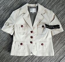 Louis Charles London Jacket Cream Fitted Silhouette UK Size 12 Military styling