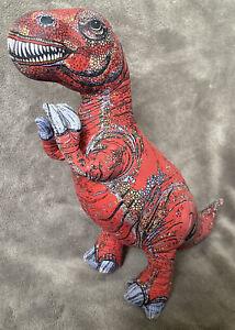 "Vtg 1992 Applause T-REX Dinosaur 17"" Cloth Silk-Screened Plush Red Stuffed Toy"