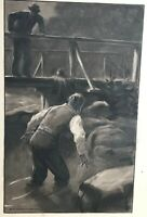 Original Fred Strothmann Vintage Watercolor Painting of Man Jumping Off a Bridge