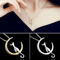 Moon Cat Cute Animal Necklaces Pendant Simple Necklace Women Jewelry Gift
